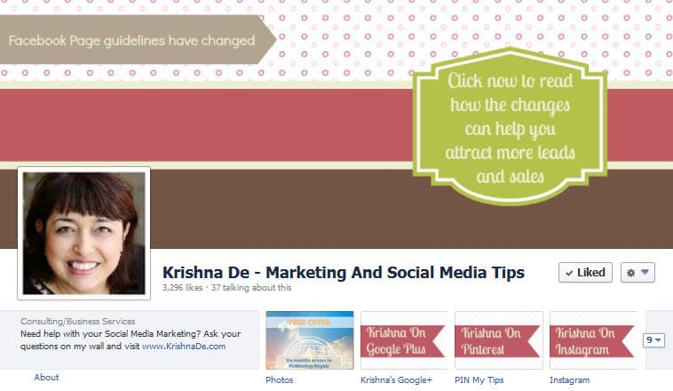 Facebook Page Cover Guidelines - Changes March 2013 Demonstrated By Krishna De