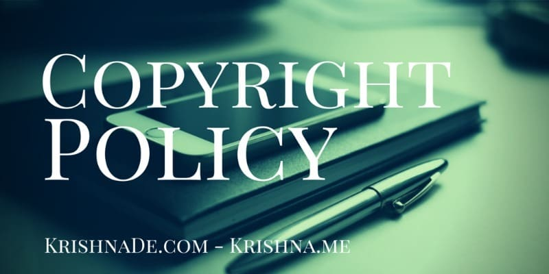 Copyright Policy For Krishna De Web Properties