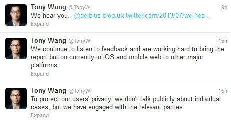 Tony Wang of Twitter UK comments on how Twitter manages abuse posted on the site 29 July 2013
