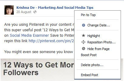 How to embed a Facebook post into your website or blog from your own post - step 1