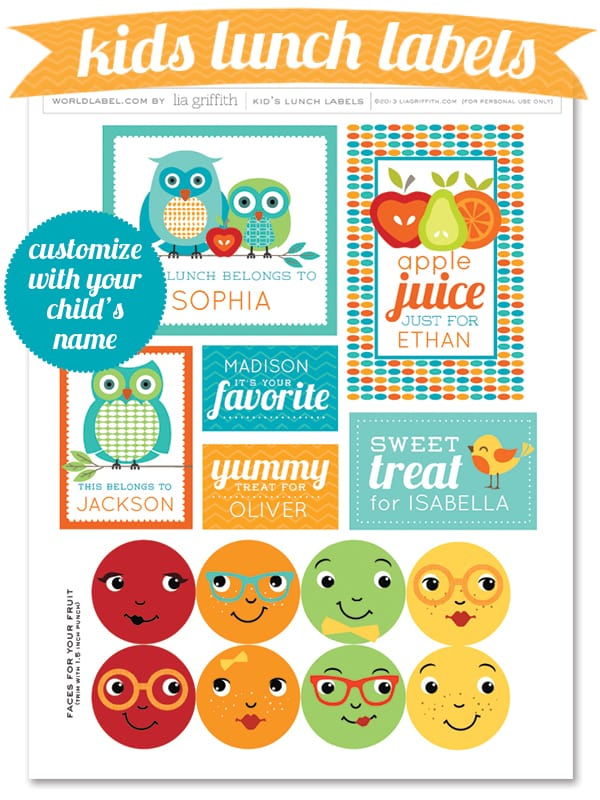 Lunch box printable labels that can be customised with your childs name