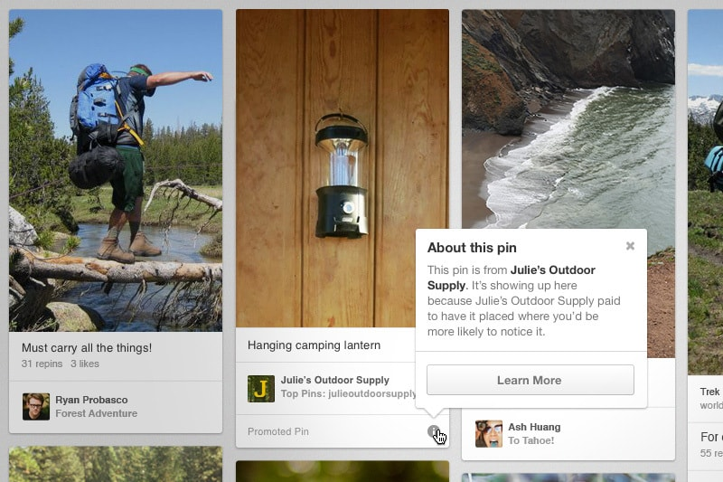An example of what Pinterest promoted content will look like as shared by Pinterest