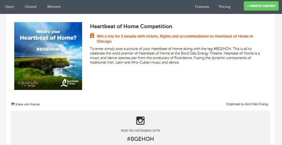 Bord Gais Energy Heart Beat Of Home Instagram Competition
