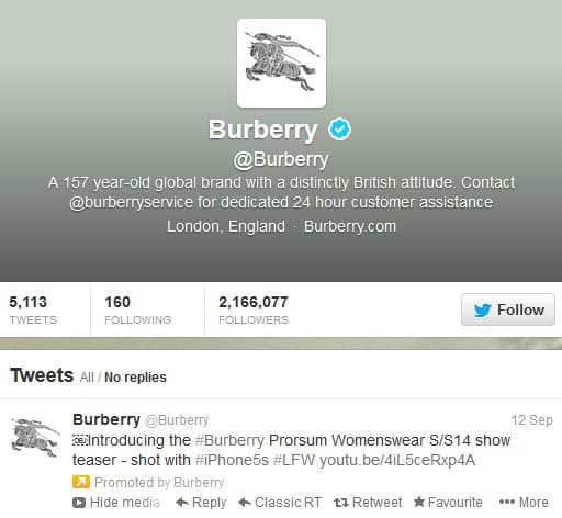 Burberry promoted Tweet for their Spring Summer Collection 2014 filmed using the iPhone 5S