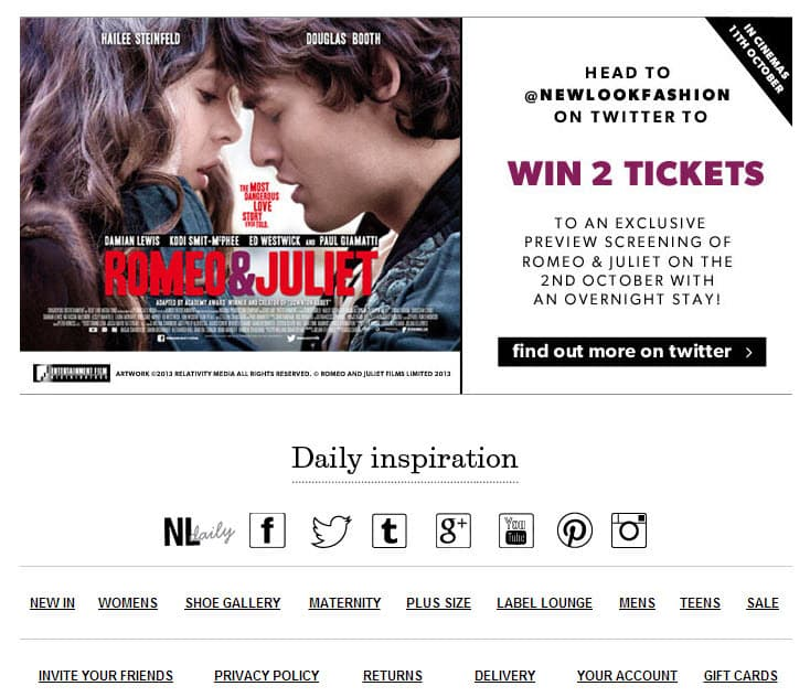 Integrating social media into your ezine - an example from New Look Fashion