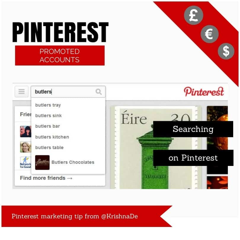 Pinterest promoted accounts - partial search for butlers on Pinterest - Pinterest marketing tip from @KrishnaDe