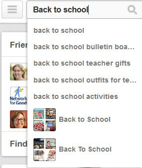 Pinterest promoted pins - search for back to school