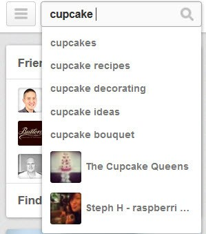 Pinterest promoted pins - search for cupcakes