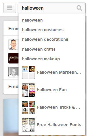 Pinterest promoted pins - search for halloween