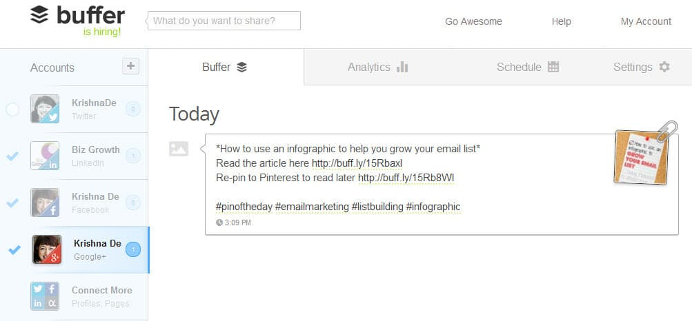 Using Buffer app to post visual content to your Google Plus business page