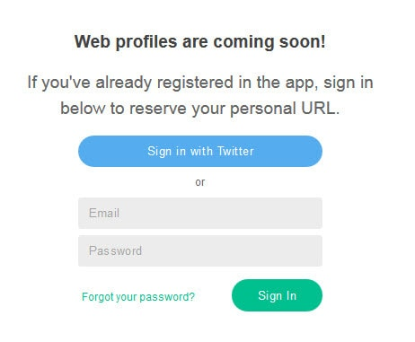 Log into Vine on the web to register for your Vine profile url