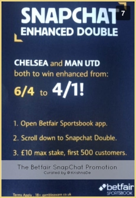 Betfair SnapChat promotion February 2014 - an example of marketing with Snapchat