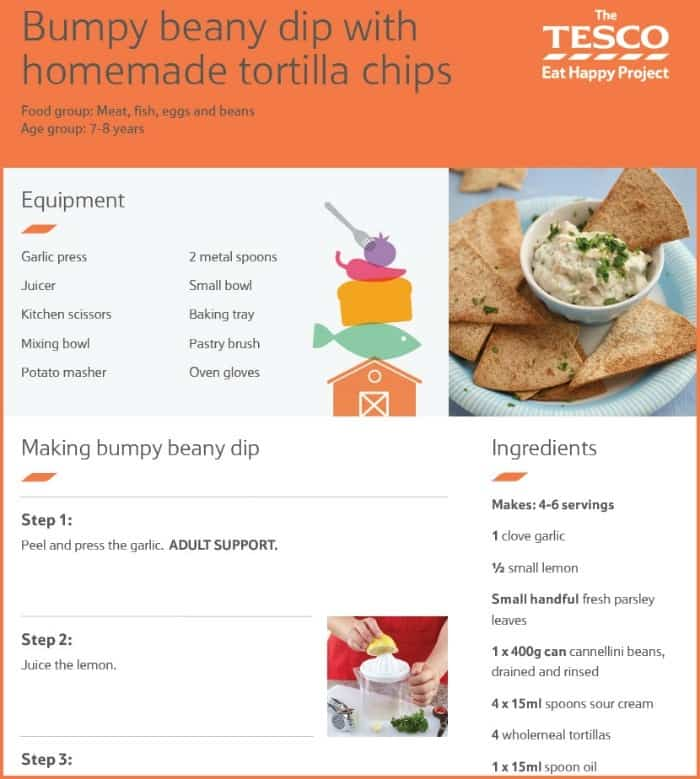Example of a Tesco Eat Happy Project Kids Recipe
