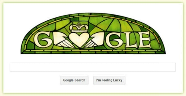 St Patricks Day 2014 is celebrated with a Claddagh ring in a Google Doodle