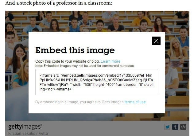 Getty Images allows publishers to embed images and three reasons you may not want to use the feature