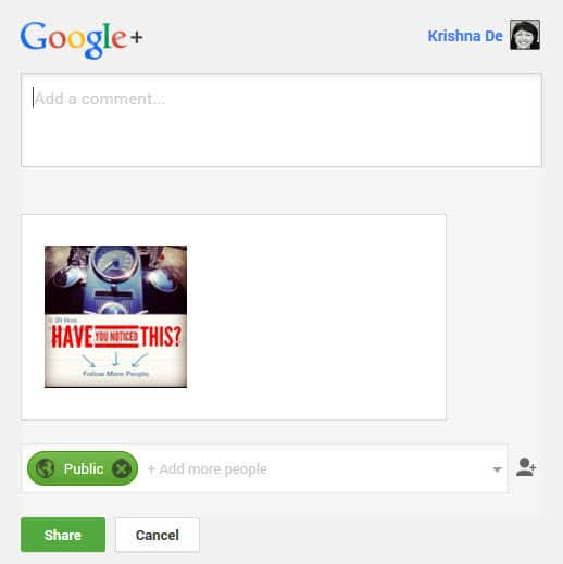Sharing an image to your Google Plus profile