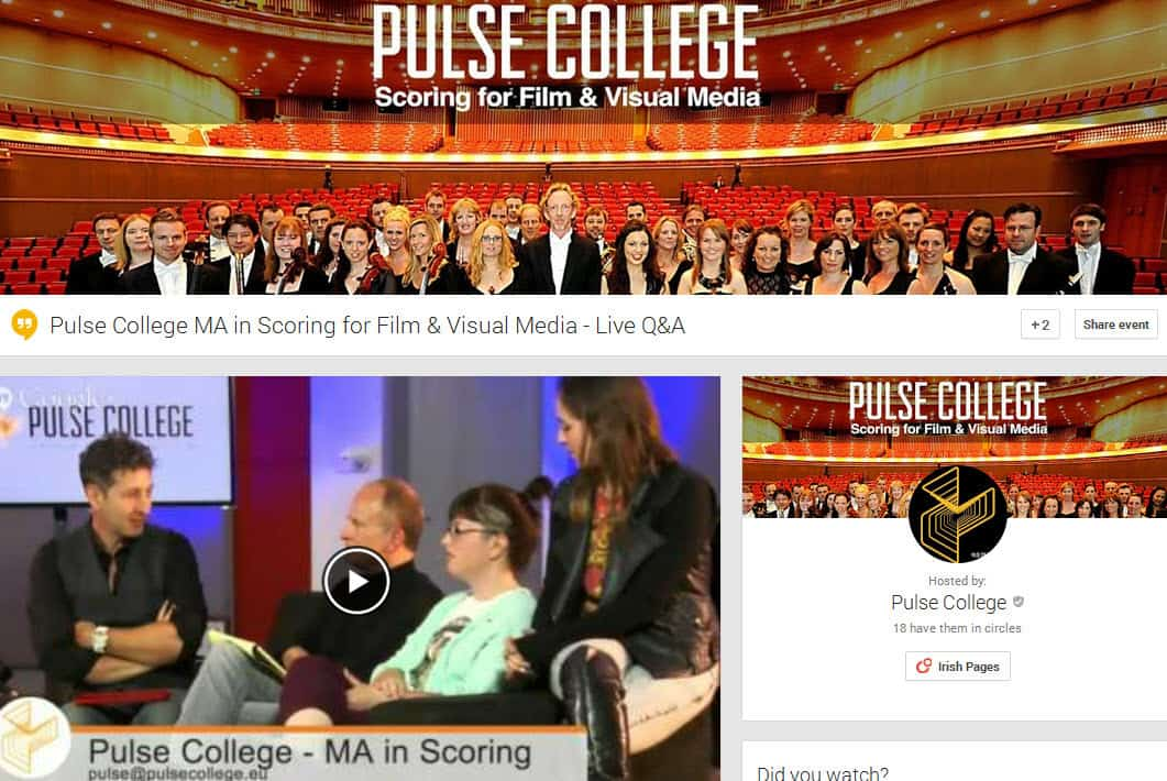 Google Hangouts for business and education in Ireland Pulse College MA in Scoring for Film and Visual Media - Live Q and A
