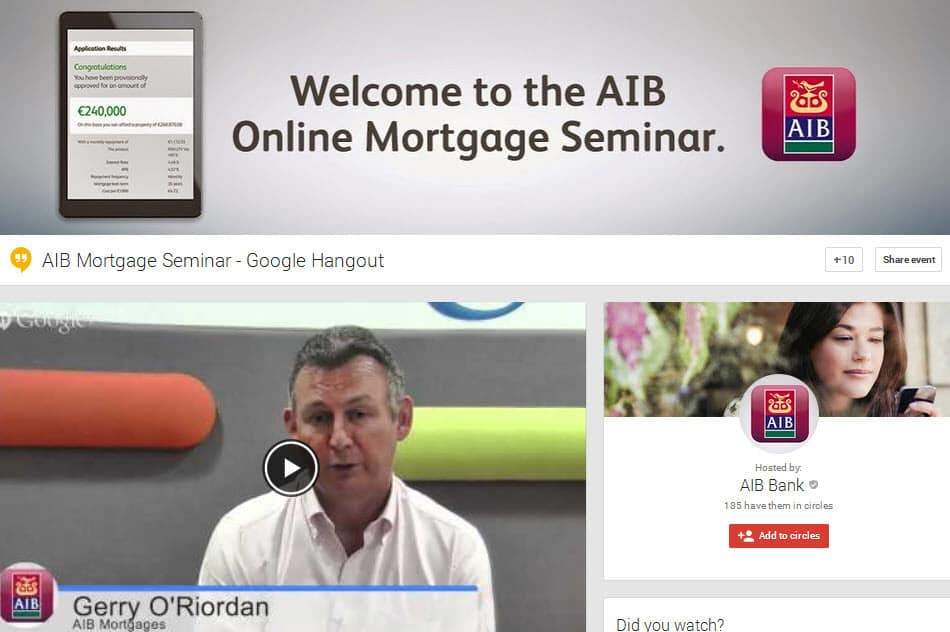 AIB Bank Ireland mortgage team host their first Hangout on Air