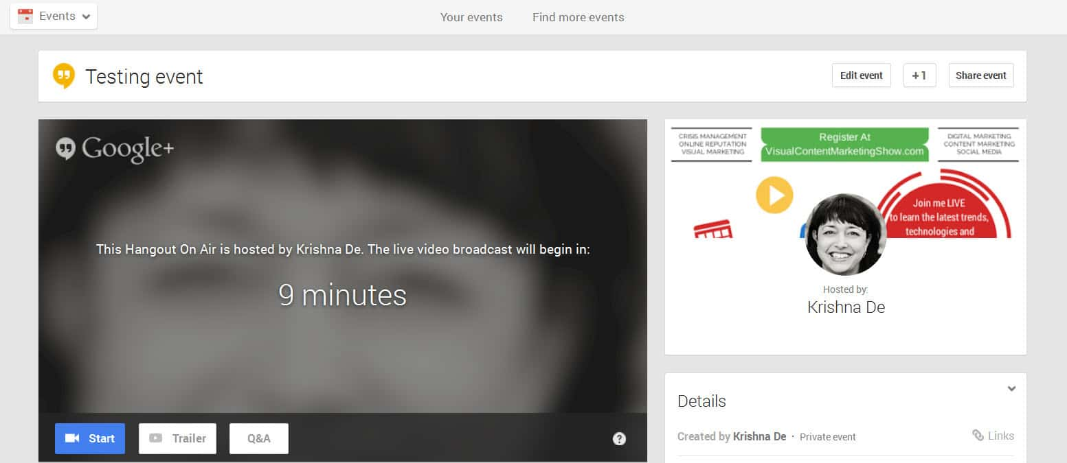 Google Hangouts for business starting your live event