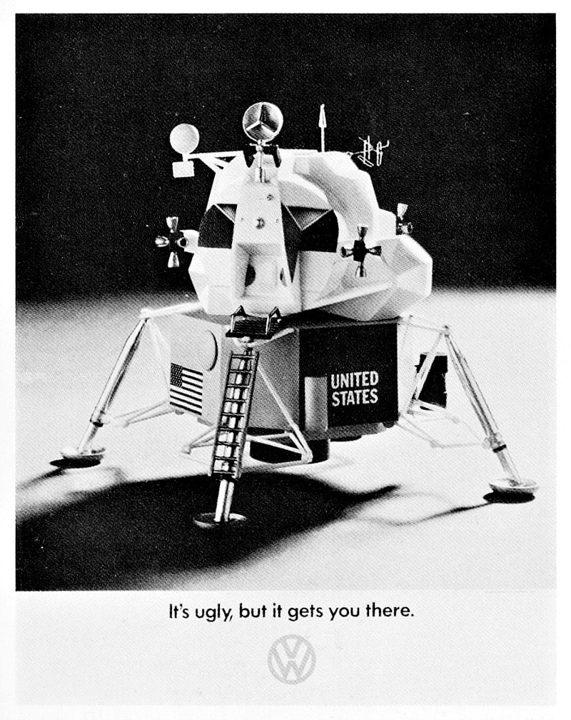 The VW advert the day after the Apollo 11 moon walk is an example of real time marketing from 1969