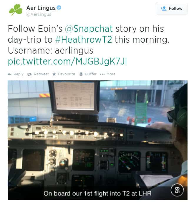 Aer Lingus share visual stories on SnapChat