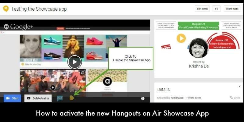 How to activate the new Showcase App for your Google Hangout on Air - Hangout marketing tips from Krishna De
