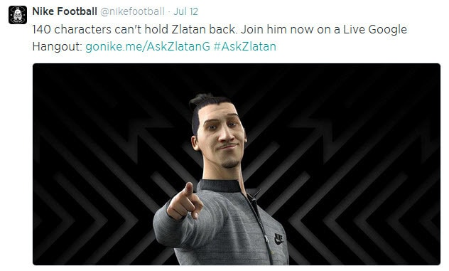Nike Football Google Hangout #AskZlatan Twitter post promoting the live event