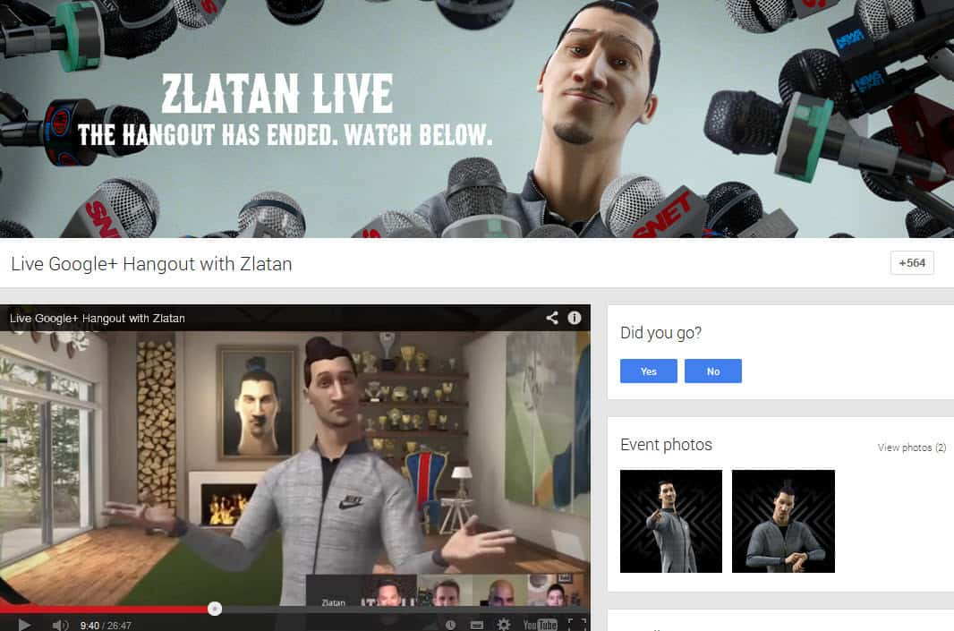 Nike Football Google Hangout #AskZlatan - an example of using Google Hangouts relating to sports and brands
