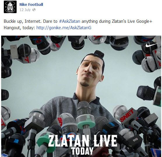 Nike Football Google Hangout #AskZlatan Facebook post promoting the live event