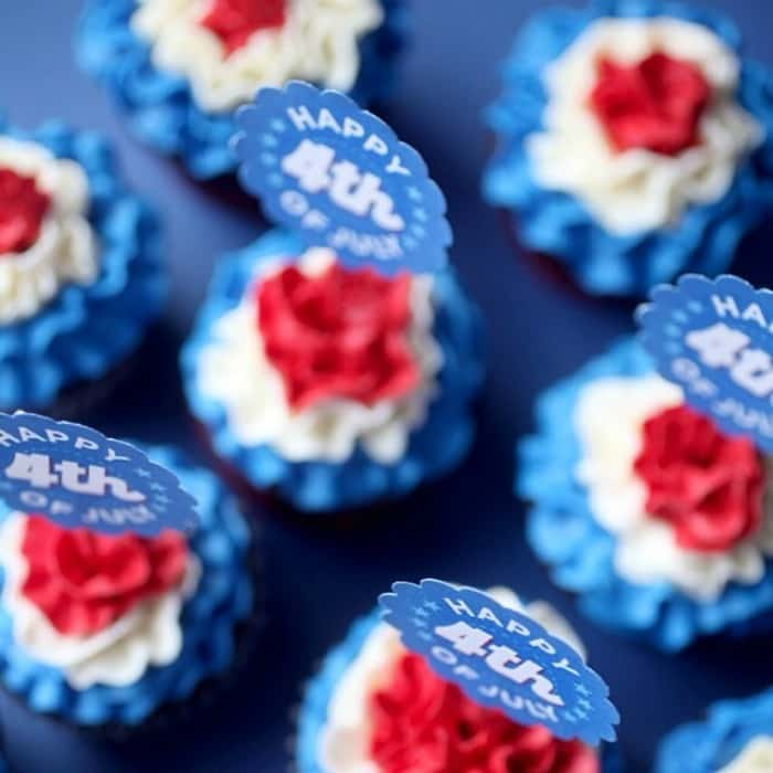 Red white and blue ruffled cupcakes