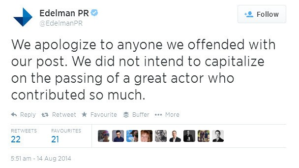 Edelman Tweets their apology about the article