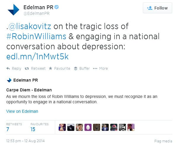 Edelman shares an article on Twitter about the death of Robin Williams and engaging in a national conversation about depression