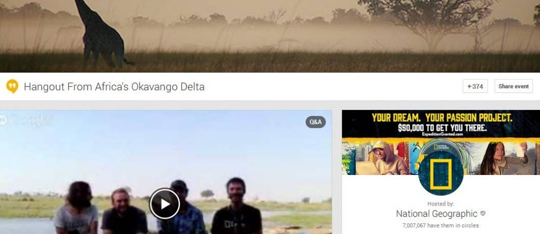 National Geographic brings explorers into your home and classroom through their use of Google Hangouts On Air