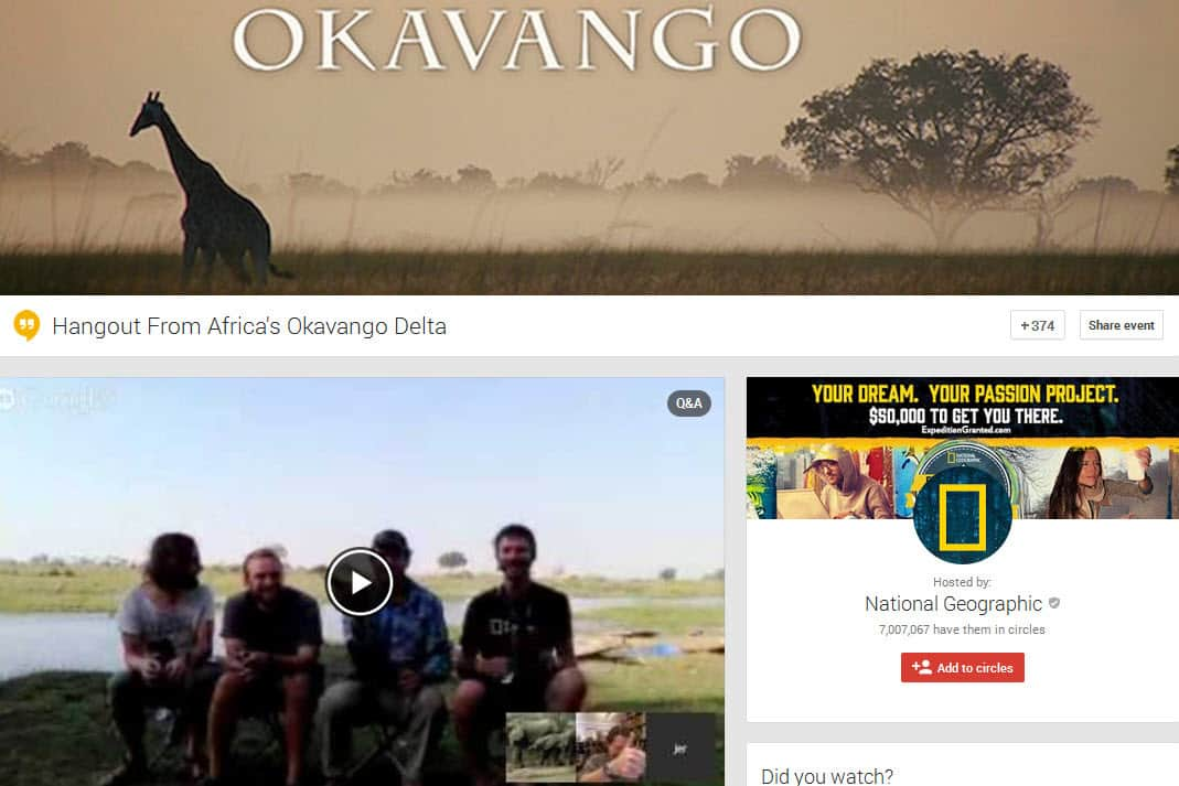 Google Hangout On Air hosted by National Geographic and exploring communications technologes to help protect conservation areas such as the Okavango Delta