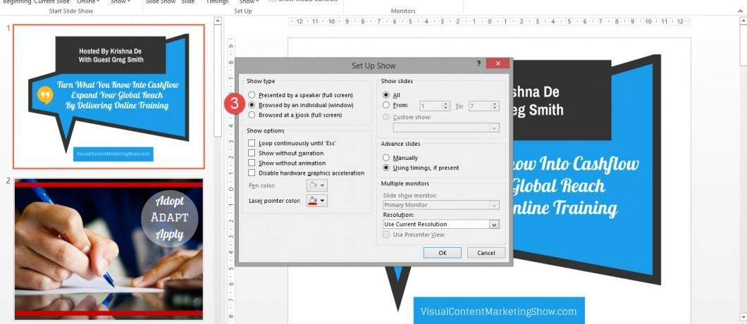 How to set up your PowerPoint presentation when preparing to screen share in a Hangout On Air or Google Helpout