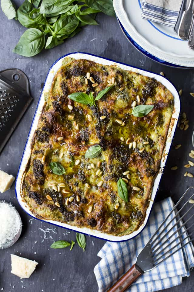Recipe for green bean potato and pesto lasagne