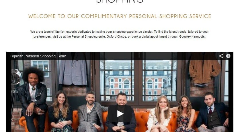 TOPMAN explores social commerce using Google Hangouts for personal shopping