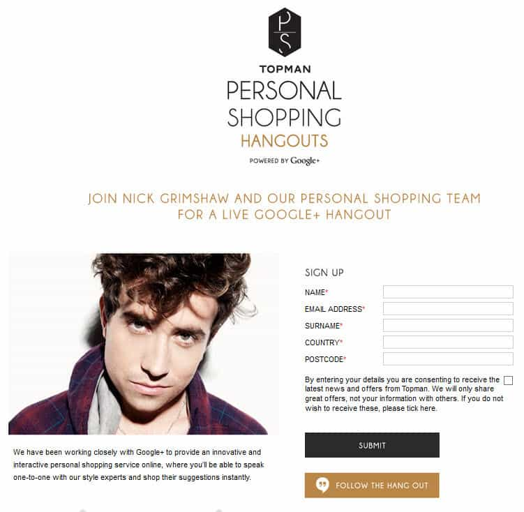 TOPMAN the British mens fashion retailer launches Google Hangouts for personal shopping
