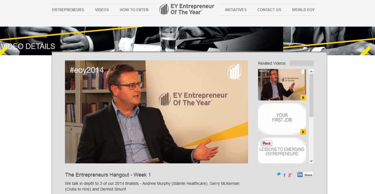 Entrepreneur Of The Year Award Ireland 2014 uses Google Hangouts for conversations with award finalists #eoy2014