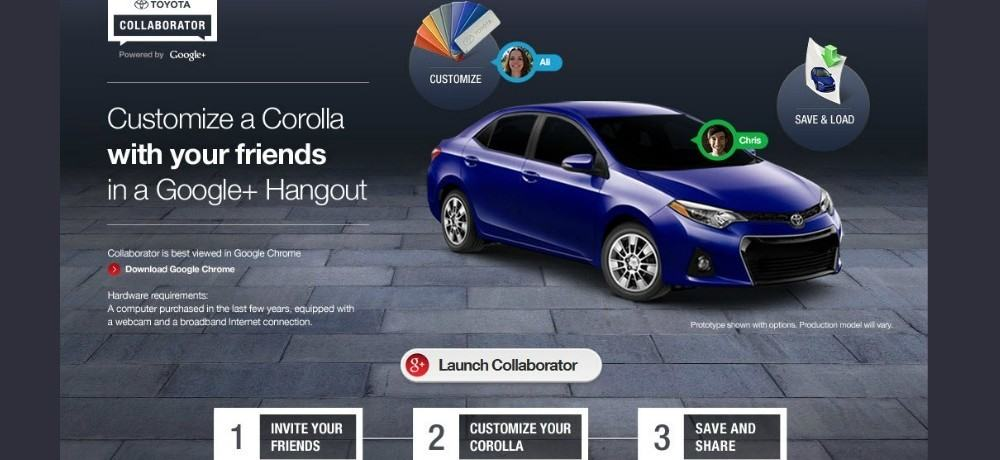 Toyota Collaborator Google Hangouts App Campaign enabling consumers to customise their car with friends