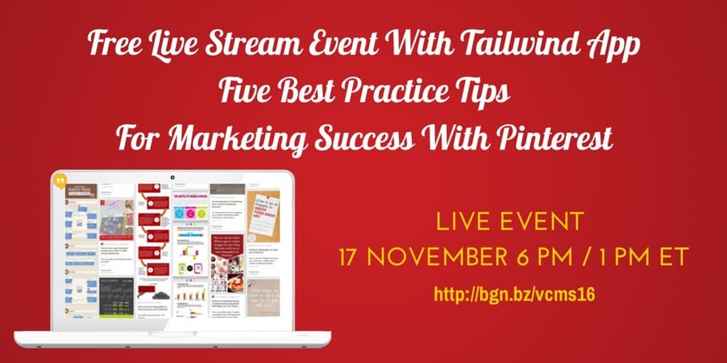 Five best practice tips for marketing success with Pinterest - free live training on the Visual Content Marketing Show