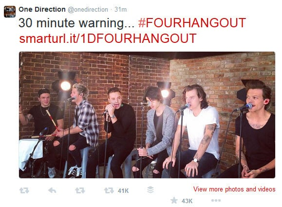 One Direction 30 minute warning Tweet about the Hangout On Air