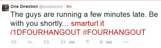 One Direction Twitter message about the Hangout On Air running late