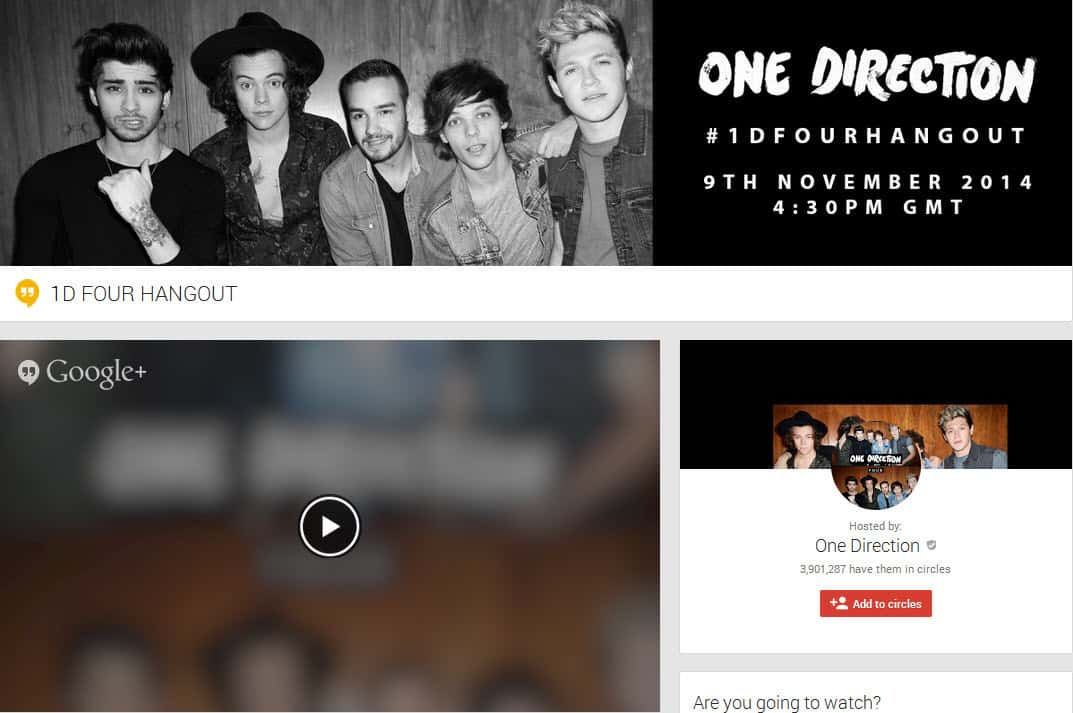 One Direction Host the #FourHangout using Hangouts On Air – four learnings for Hangout On Air show Producers