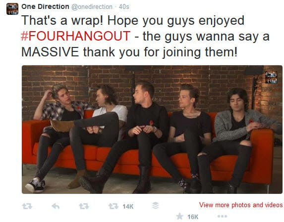 One Direction on Twitter thanks people for watching the Hangout On Air