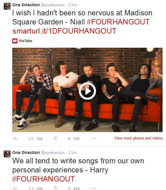 One Direction promote the Google hangout on Air through Twitter while it is on air with multiple Tweets