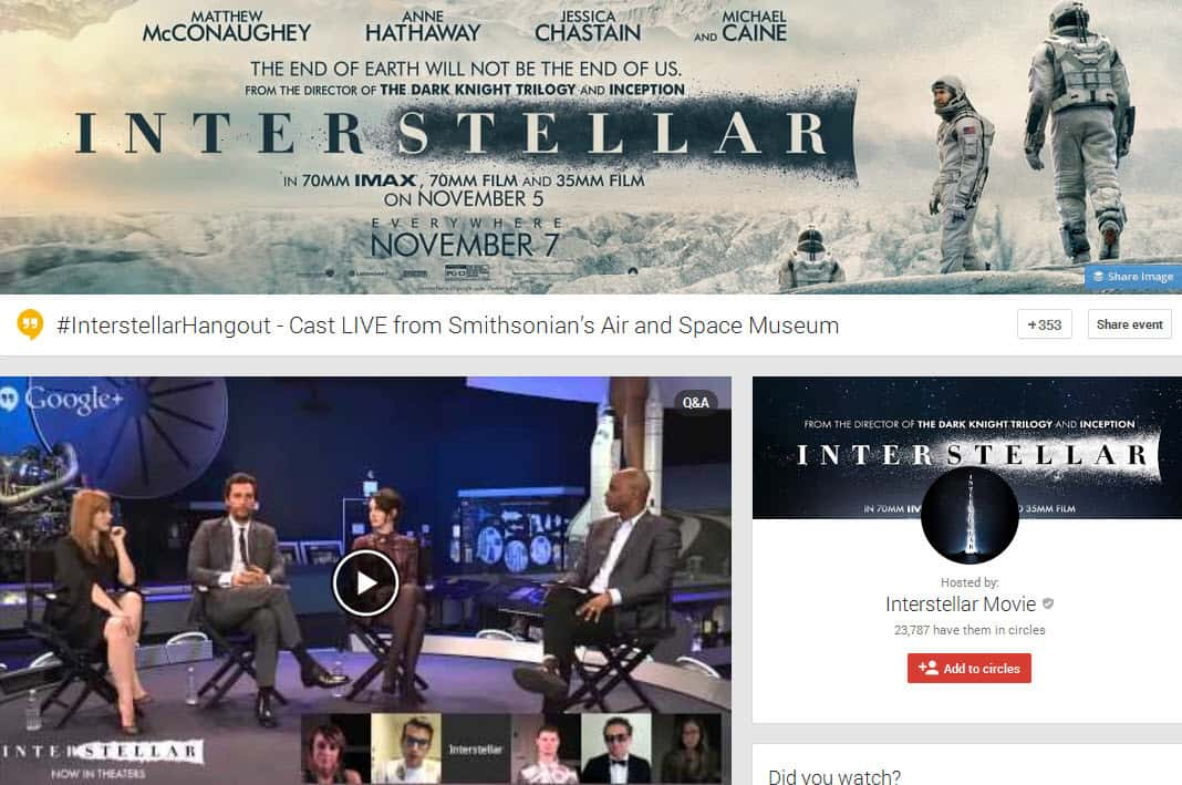 The Interstellar Hangout live from the Smithsonian Air and Space museum using Hangouts On Air