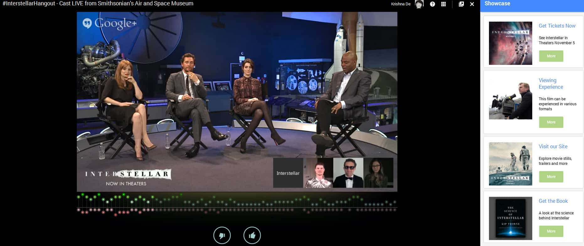 The cast of Interstellar the movie participate in a Google Hangout On air live from the Smithsonians Air and Space museum