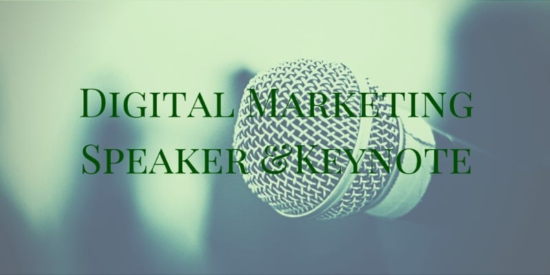 Digital Marketing, social media communications and live stream keynote and professional speaker