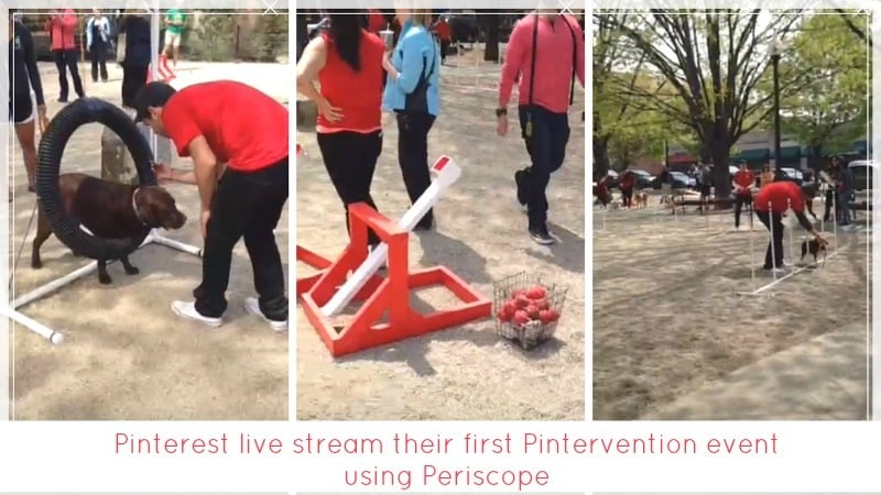 Pinterest live stream their first Pintervention event using Twitter's Periscope App